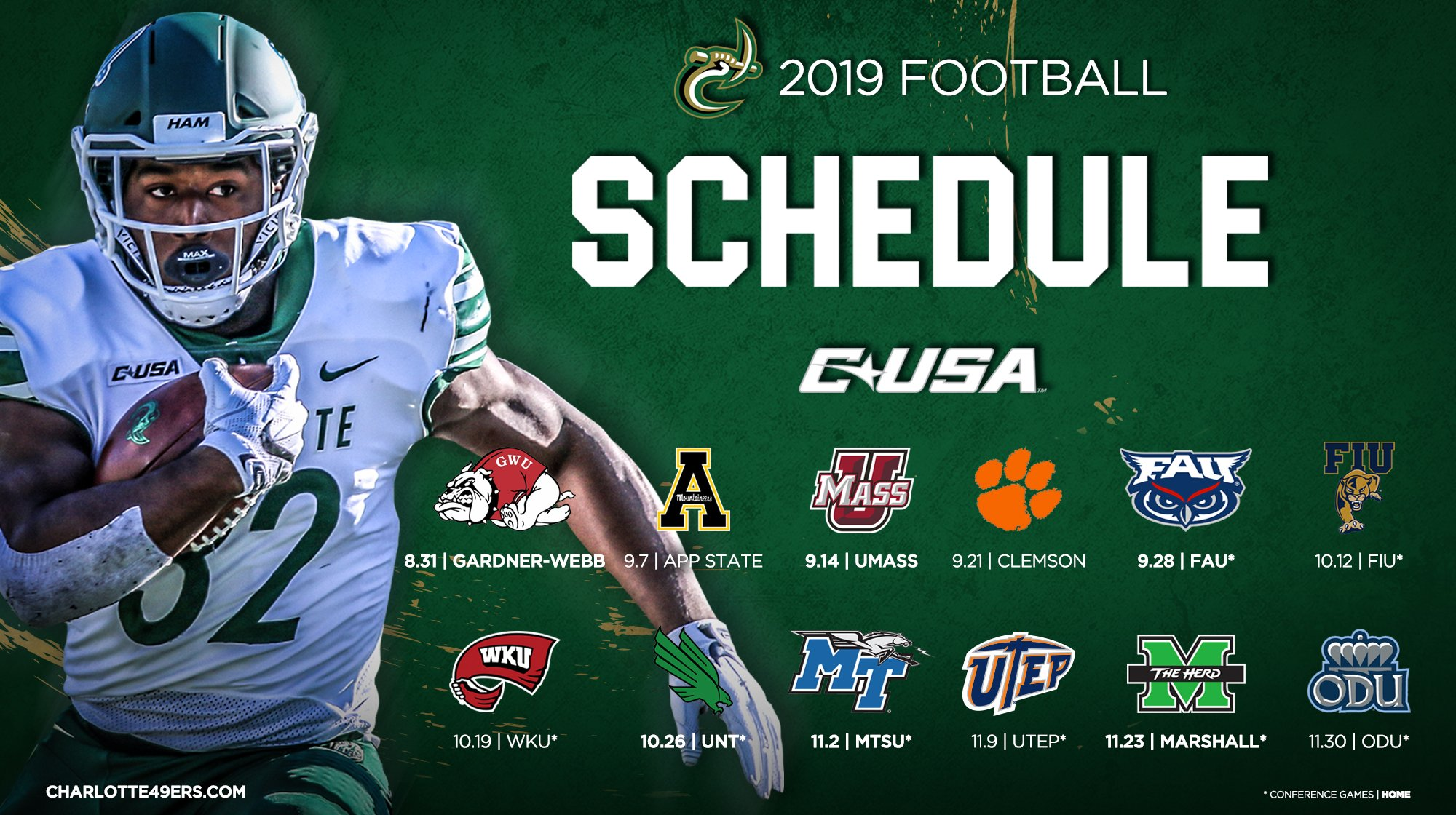 Uncc Football Schedule 2020 2019 Charlotte 49ers Football schedule   Charlotte 49er Football
